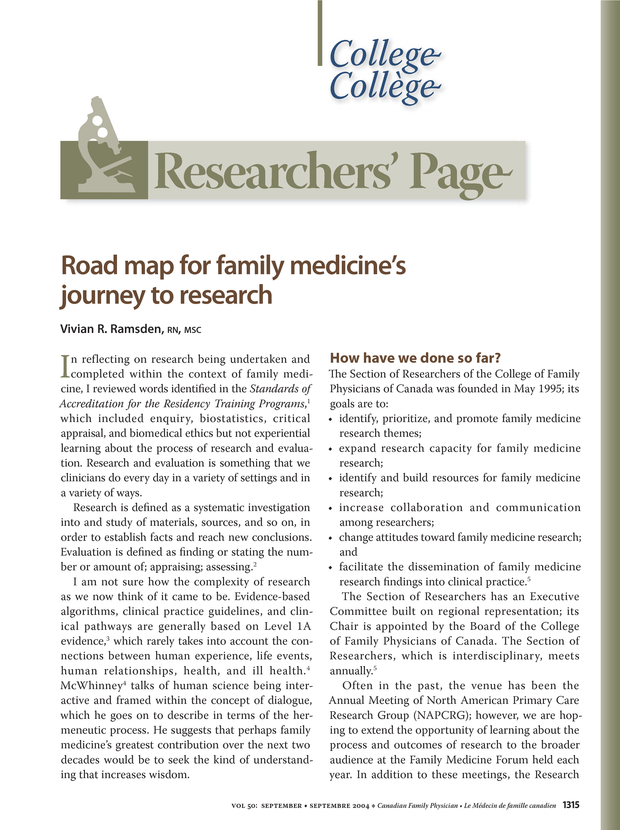 Road map for family medicine's journey to research  | The College of