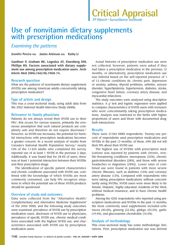 Use of nonvitamin dietary supplements with prescription