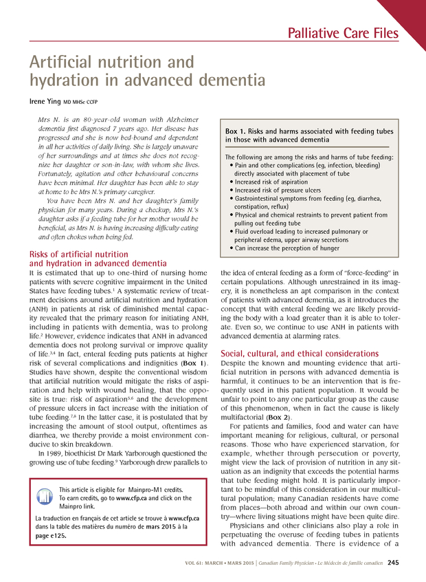 Artificial nutrition and hydration in advanced dementia